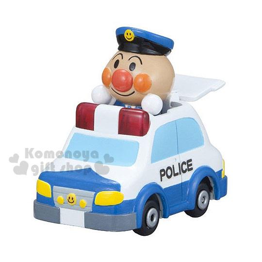 〔小禮堂〕麵包超人 GOGO迷你造型玩具車《小.白.警車.舉雙手站姿》適合3歲以上兒童