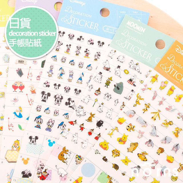 NORNS【日貨decoration sticker迪士尼手帳貼紙】愛麗絲 米老鼠 皮克斯 小熊維尼嚕嚕米唐老鴨