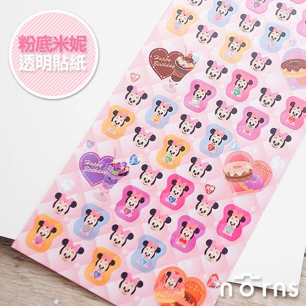 NORNS 【KR 粉底米妮透明貼紙】迪士尼 Minnie 日記 手帳 拍立得 照片 裝飾貼紙