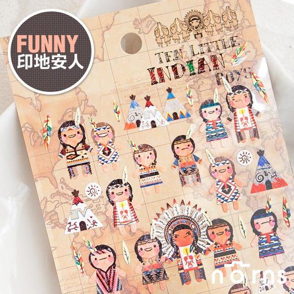NORNS 【Funny 印地安人貼紙】拍立得照片 手帳 行事曆 日記 卡片 裝飾貼紙