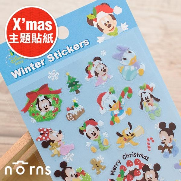 NORNS 【日貨主題貼紙 BABY米老鼠】Mickey 米奇 米妮 聖誕節 卡片 裝飾 Christmas