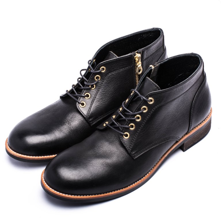 ARGIS 日本圓頭查卡中筒靴-22236黑【日本製手工皮鞋】