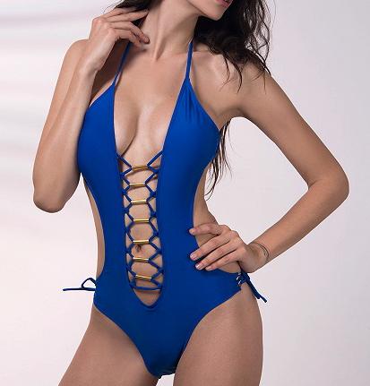 歐美性感開低叉露肚金屬環簍空綁脖連身泳衣藍色白色