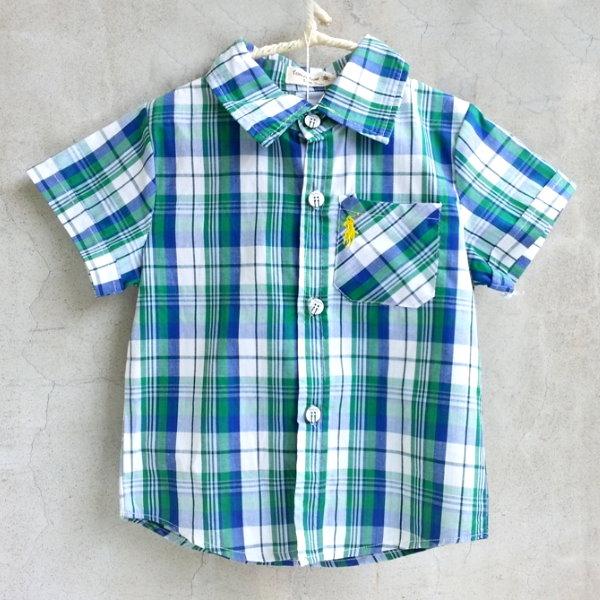 【班比納精品童裝】標誌格紋襯衫-綠【BO150622053】