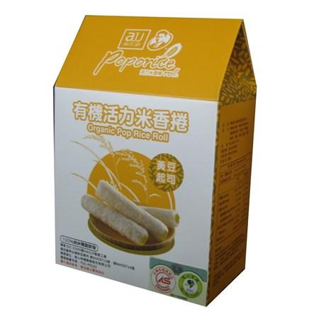 【淘氣寶寶】阿久師有機活力米香捲-黃豆起司口味【100%純米精製餅身,使用台灣米精製】