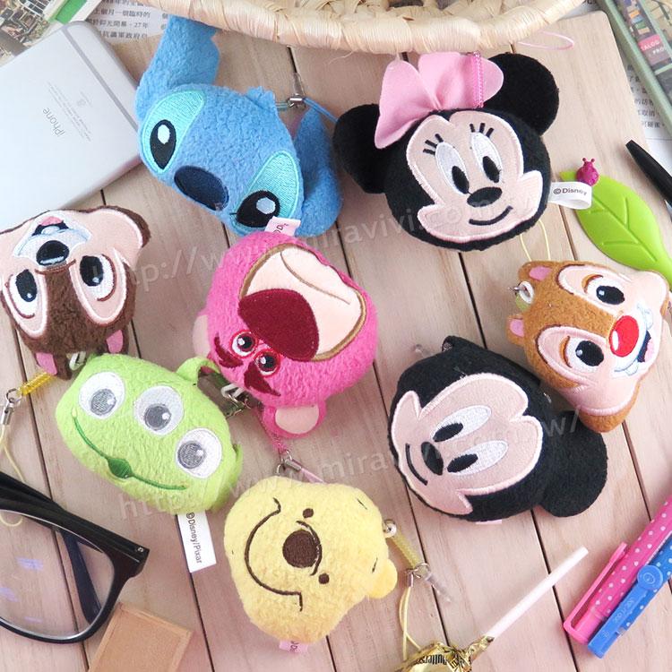 【Disney】 可愛絨毛沙包造型耳機防塵塞擦拭布