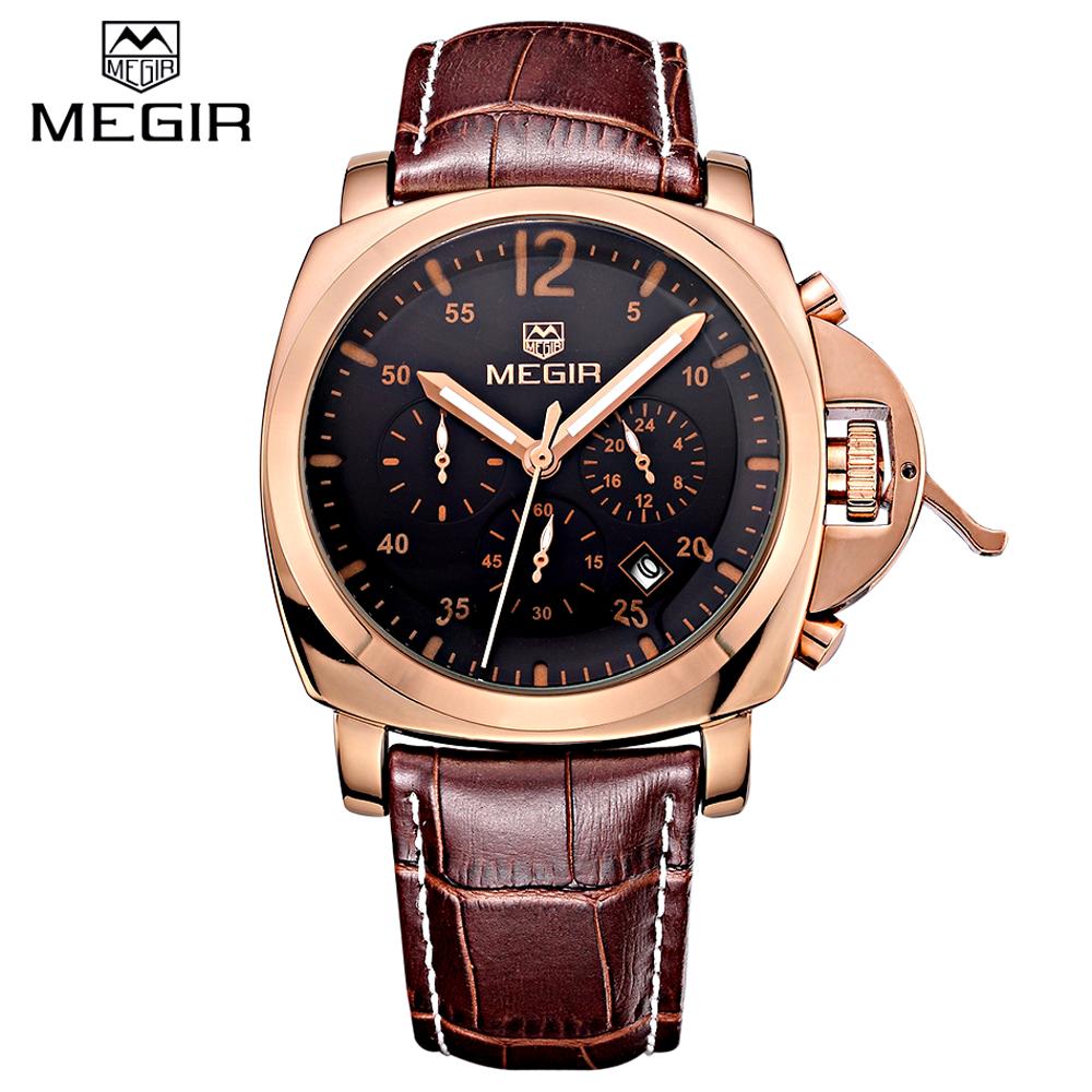 MEGIR 美格爾 3006 時尚真三眼多功能石英防水運動錶 - 玫框黑面