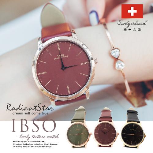 瑞士IBSO醚戀微醺大錶面超薄真皮手錶對錶單支【WIB22416】璀璨之星☆