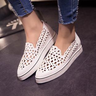 網鞋透氣鏤空洞洞鞋淺口單鞋尖頭平底鞋-黑/白/銀35-39【a521495218196】