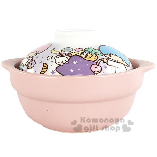 〔小禮堂〕雙子星 迷你陶瓷砂鍋《粉白.星星推車.食物》適合1人份量