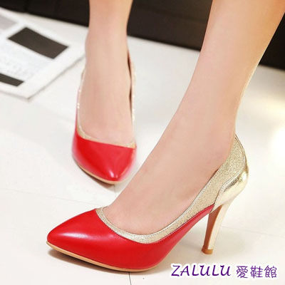 ☼zalulu愛鞋館☼ JB174 現貨 歐美拼接材質美感尖頭細高跟星蔥婚跟鞋-白/紅/黑-35-40