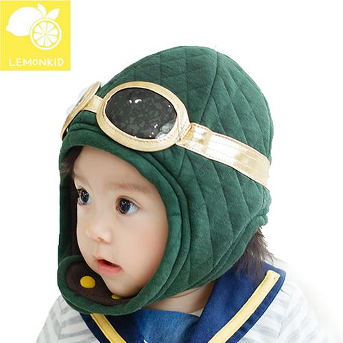 Lemonkid◆冬季可愛保暖飛行員眼鏡造型帽兒童帽冬帽-墨綠色