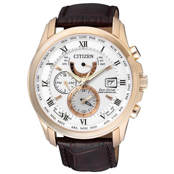 CITIZEN星辰AT9082-01A紳士時尚電波光動能腕錶/白面43mm