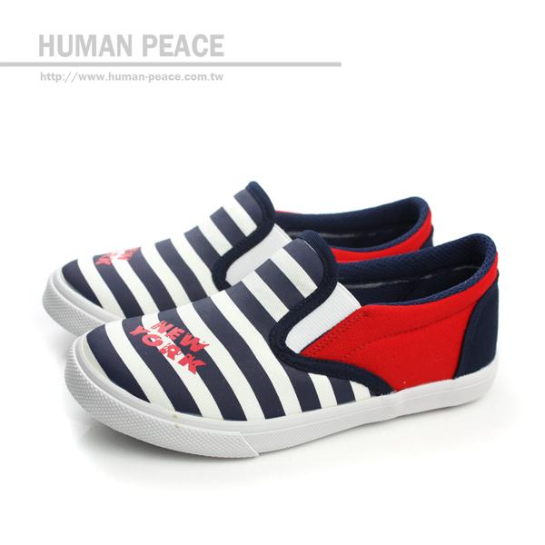 小男生鞋 帆布 舒適 好穿脫 懶人鞋 戶外休閒鞋 藍/白 中童 no183