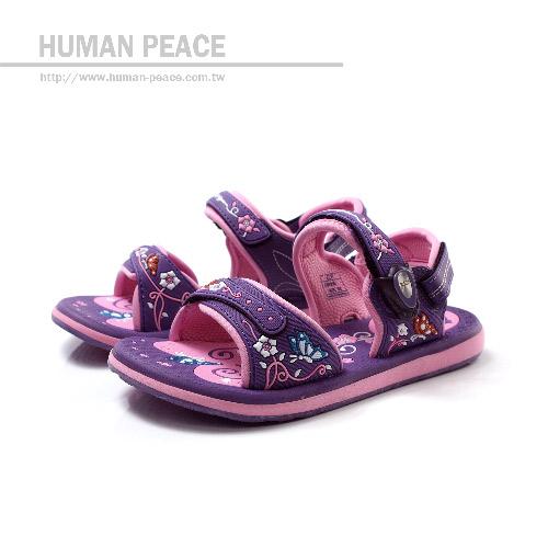 G.P(Gold.Pigon) 可調鬆緊 磁鐵扣 好穿脫 後跟可拆 排水系列 涼鞋 拖鞋 紫 大童 no529