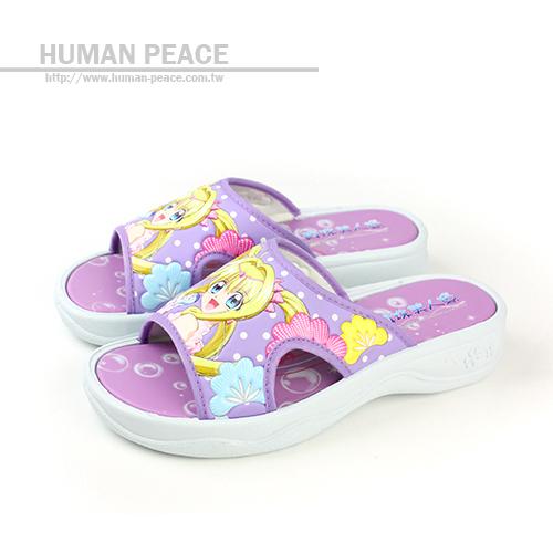 真珠美人魚 卡通圖案 舒適 清涼 透氣 拖鞋 戶外休閒鞋 粉紫 中童 no533