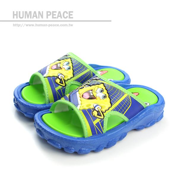 海綿寶寶 皮革 舒適 透氣 拖鞋 戶外休閒鞋 藍 中童 no555