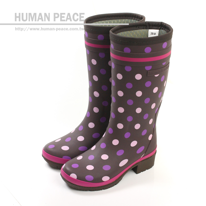 MoonStar 點點 橡膠底 高筒 雨靴 靴子 戶外休閒鞋 紫 大童 no776