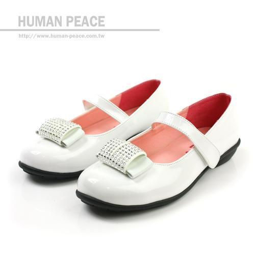 小淑女鞋 水鑽 舒適 淑女風格 娃娃鞋 戶外休閒拖鞋 白 大童 no070