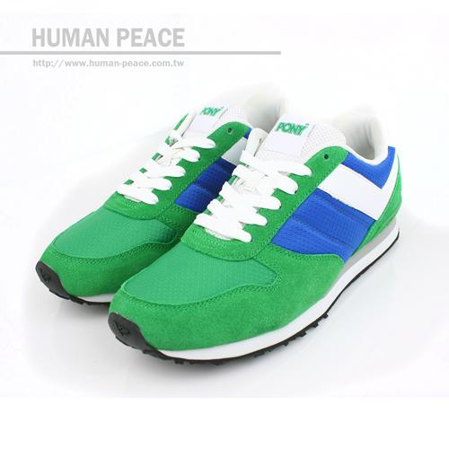 PONY Sola 麂皮 皮革 舒適 慢跑鞋 戶外休閒鞋 藍/綠/白 男款 no035