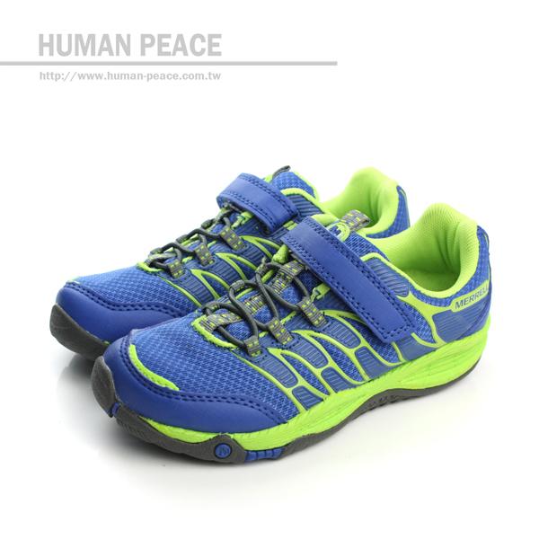 MERRELL ALLOUT FUSE 網布 皮革 舒適 抗震 運動鞋 戶外休閒鞋 綠/藍 中童 no016