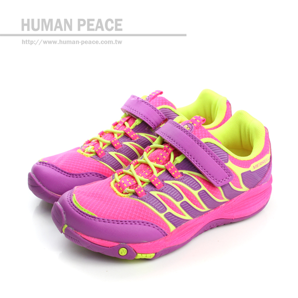 MERRELL ALLOUT FUSE 網布 皮革 舒適 抗震 運動鞋 戶外休閒鞋 紫/粉 中童 no017