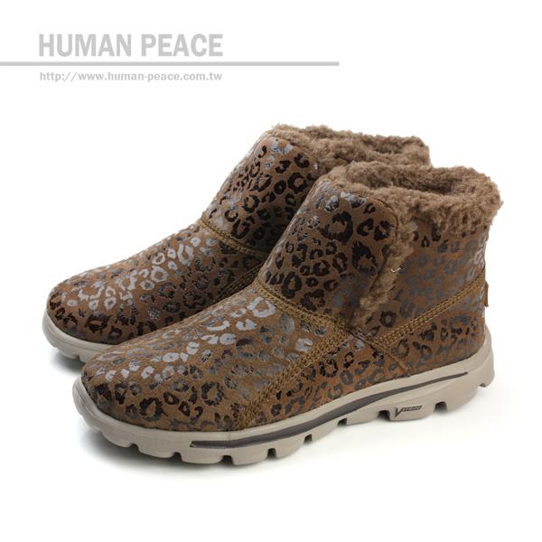 SKECHERS GO WALK 豹紋 皮革 舒適 內裡絨毛 靴子 戶外休閒鞋 咖啡 女款 no081