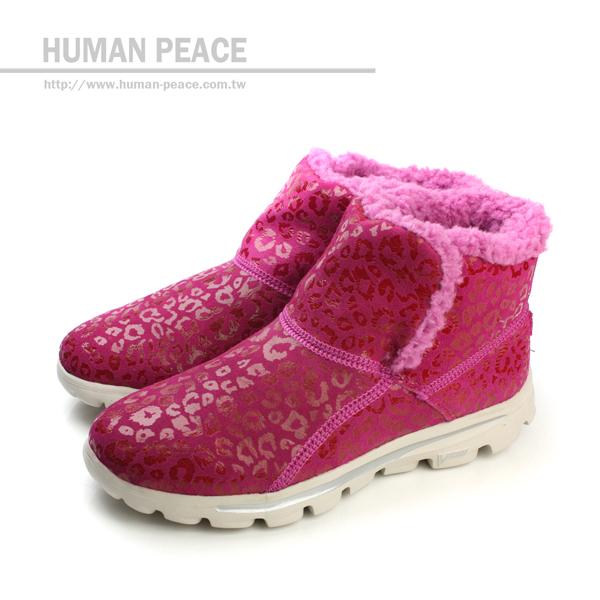 SKECHERS GO WALK 豹紋 皮革 舒適 內裡絨毛 靴子 戶外休閒鞋 粉 女款 no082