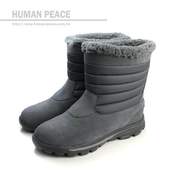 SKECHERS 防潑水鞋面 皮革 舒適 輕量 保暖 靴子 戶外休閒鞋 灰 女款 no083