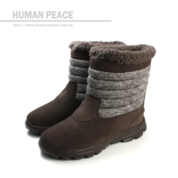 SKECHERS GO WALK 防潑水鞋面 皮革 舒適 輕量 保暖 靴子 戶外休閒鞋 咖啡 女款 no086