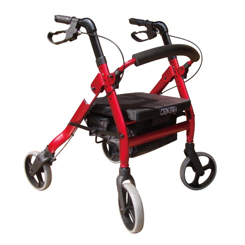 【醫康生活家】杏華 無機械動力四輪車(可收合軟坐墊) FJ2204