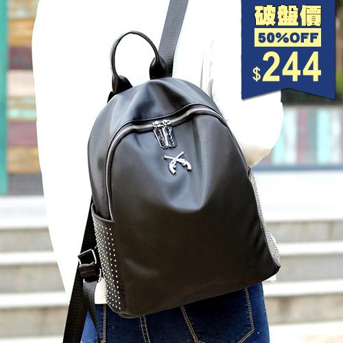 龐克風雙槍閃亮休閒百搭尼龍後背包 手提包 兩用包 戶外旅行包 中性包 包飾衣院 P1853 現貨+預購
