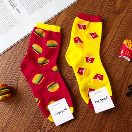 韓國 漢堡薯條滿版造型四分襪 食物 速食 短襪 襪子 中筒襪 造型襪 流行襪【N201457】