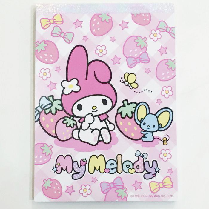 Melody 美樂蒂 便條紙 MEMO紙 粉紅 草莓 三麗鷗 文具 日本製 日本限定販售 * JustGirl *