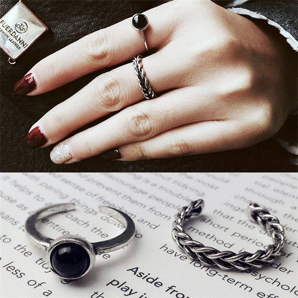 PS Mall 日韓版黑瑪瑙開口食指小戒指女復古麻花2兩件套戒指 飾品【G2086】