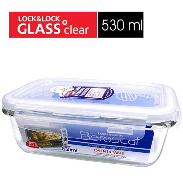 樂扣樂扣微波烤箱玻璃保鮮盒530ml長方型LLG426副食品保存盒-大廚師百貨