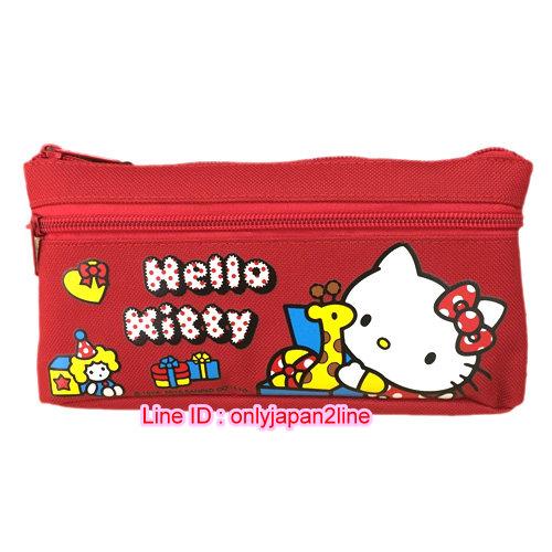 【真愛日本】16111100023二代雙層寬筆袋-KT玩具紅    三麗鷗 Hello Kitty 凱蒂貓 筆袋 鉛筆盒 文具 收納