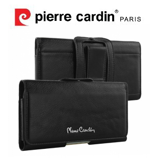 [iPhone6/6s Plus/LG G4/Samsung Note4/Note5 ] Pierre Cardin法國皮爾卡登5.5吋極致品味橫式腰掛真皮手機套/保護套/皮套 黑色