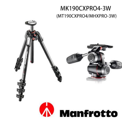 【分期0利率.免運費】Manfrotto 曼富圖 MK190CXPRO4-3W 套組 碳纖維三腳架(MT190CXPRO4,正成公司貨)