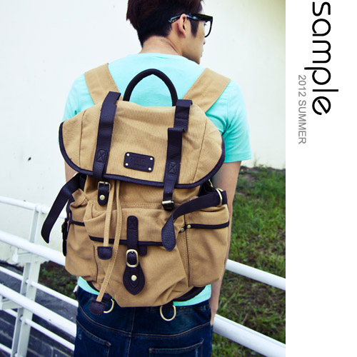 Sample【SA3024】韓版,仿古二戰軍用多功能帆布後背包