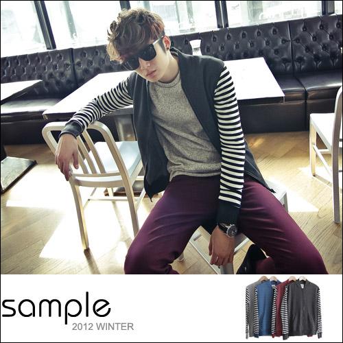 棒球外套【Sample】台灣製條紋接袖棉料內裡刷毛保暖棒球外套【SA3916】