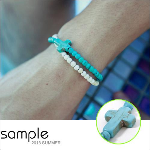 串珠手環【Sample】潮流十字架琉璃球串珠手環【SA5321】