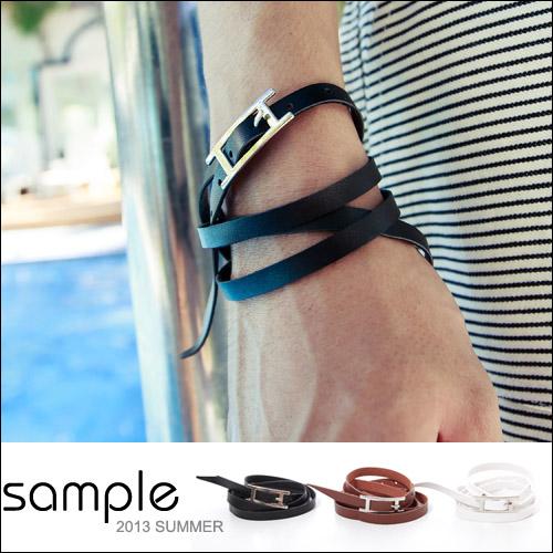 手環【Sample】多圈式皮繩手環【SA5523】