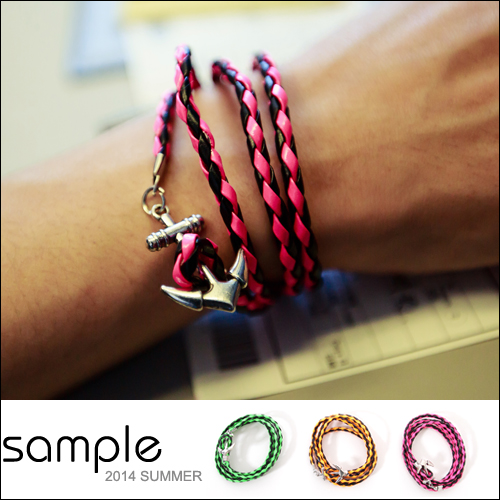 編織手環【Sample】黑配色螢光多圈編織手環【SA8015】