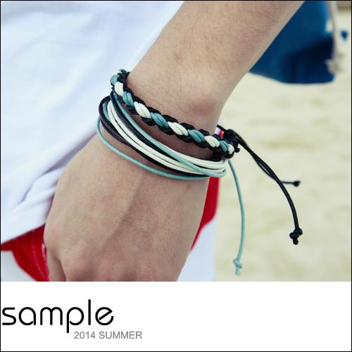 衝浪手環 2件組編織皮繩+多圈棉繩衝浪手環【AC8017】