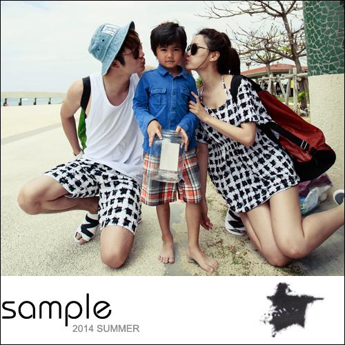 情侶 海灘褲【Sample】千鳥格海灘褲/女比基尼3件組【SA8026】