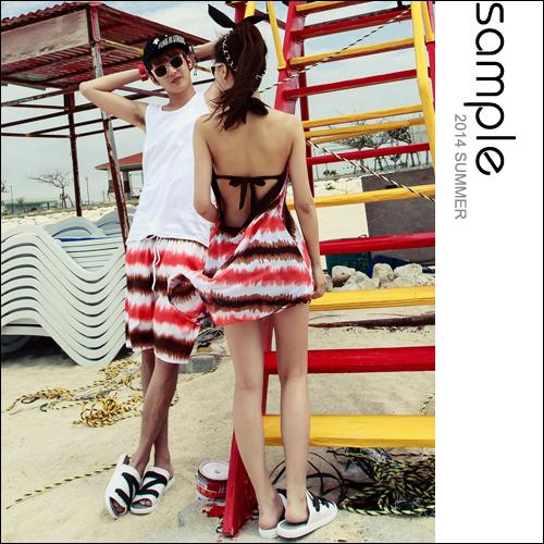 情侶 海灘【Sample】渲染漸層色海灘褲/女比基尼3件組【SA8027】