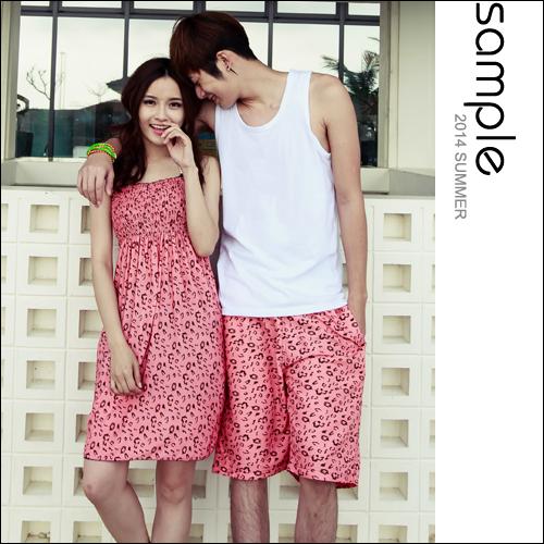 情侶 海灘【Sample】粉紅小豹紋男海灘褲/女比基尼3件組+戲水洋裝【SA8034】