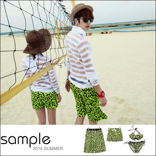 情侶 海灘褲【Sample】超亮綠螢光配色豹紋塗鴉情侶海灘褲/女比基尼【SA8035】