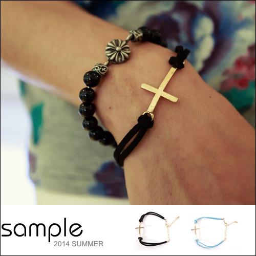 手環【Sample】仿古皮繩船錨 十字架手環【AC8326】